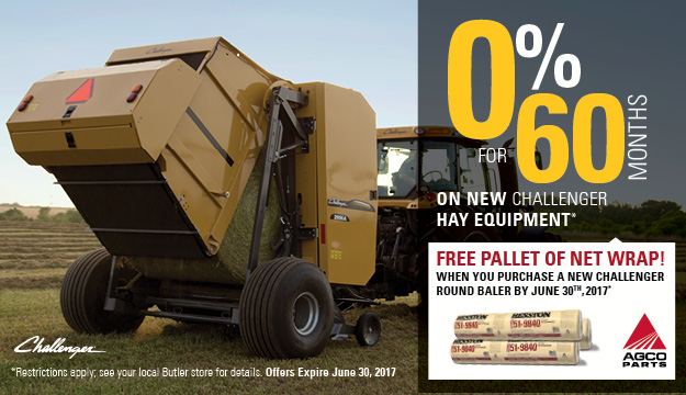0% for 60 Months on new Challenger Round Balers and get free net wrap