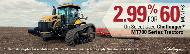 2.99% for 60 Months on Select Used Challenger MT700 Series Tractors