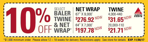 AGCO Twine and Net Wrap 10% Off