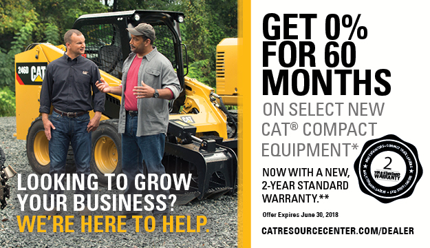 Get 0% for 60 months on select new Cat® compact equipment*