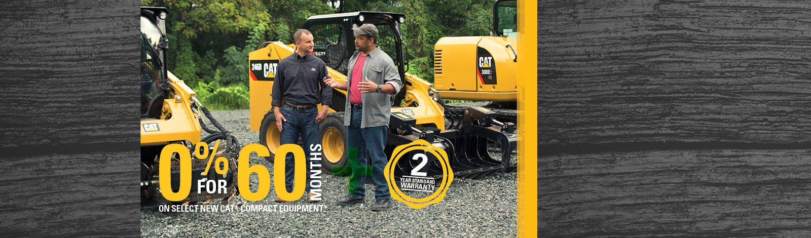 0% for 60 Months on Select New Cat Compact equipment